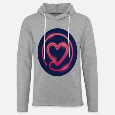 Red Blue Heart Digital Style - Unisex Lightweight Terry Hoodie