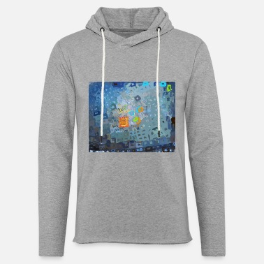 spreading blue square abstract - Unisex Lightweight Terry Hoodie
