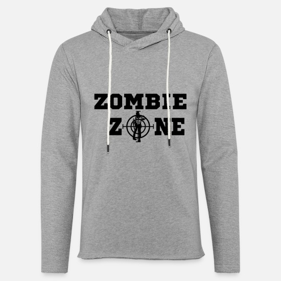Zombie Apocalypse Hoodies & Sweatshirts - Zombie Zone black - Unisex Lightweight Terry Hoodie heather gray