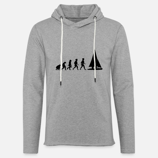 Saliboat Hoodies & Sweatshirts - Evolution Sailing Sailboat Water Sports - Unisex Lightweight Terry Hoodie heather gray
