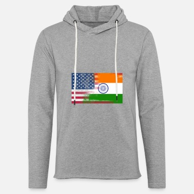 Indian Flag Indian American Half India Half America Flag - Unisex Lightweight Terry Hoodie