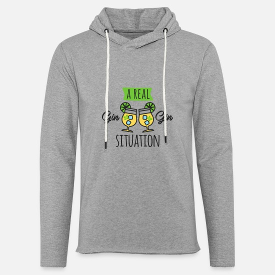 Alcohol Hoodies & Sweatshirts - A real Gin Gin situation - Unisex Lightweight Terry Hoodie heather gray