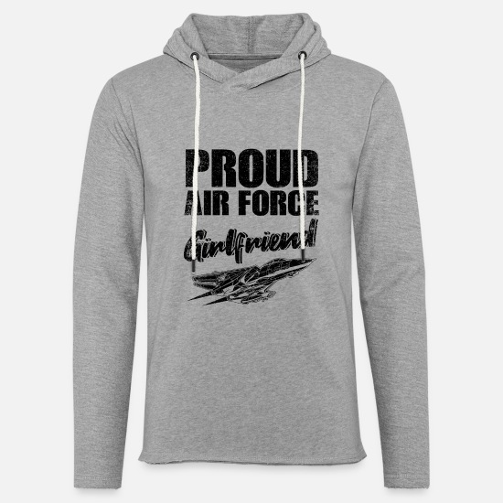 Girlfriend Hoodies & Sweatshirts - Air Force Girlfriend Aircraft Pilot Fan Gift - Unisex Lightweight Terry Hoodie heather gray