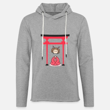 Japanese Gates Cute Japanese Halloween Ghost Under Japanese Gate - Unisex Lightweight Terry Hoodie