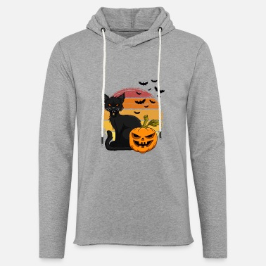 Cat and pumpkin Halloween T Shirt Design - Unisex Lightweight Terry Hoodie