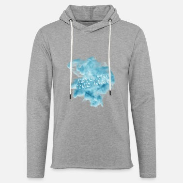 Blue White Into the blue blue smoke with white fonts - Unisex Lightweight Terry Hoodie