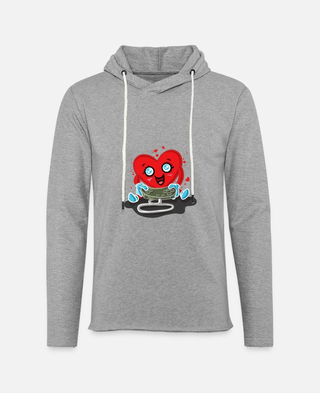 Play Hoodies & Sweatshirts - Gaming Gamer Love Valentines Day - Unisex Lightweight Terry Hoodie heather gray
