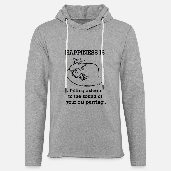 Fuck Hoodies & Sweatshirts - Happiness is falling asleep to the sound of your c - Unisex Lightweight Terry Hoodie heather gray