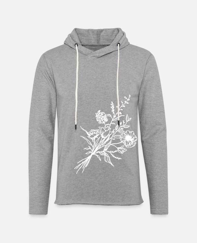 Line Hoodies & Sweatshirts - Hand drawn flower bouquet in vintage style - Unisex Lightweight Terry Hoodie heather gray