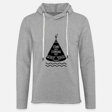 Stand Stand with Standing Rock - Unisex Lightweight Terry Hoodie