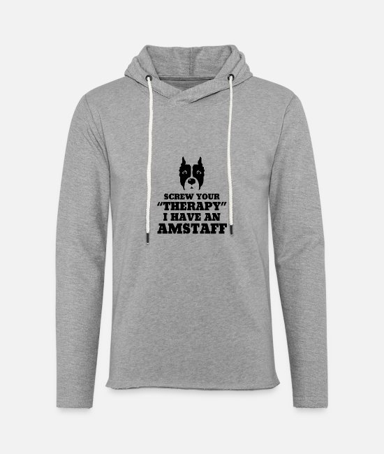 Heart Hoodies & Sweatshirts - Amstaff - Screw Your Therapy I Have An Amstaff - Unisex Lightweight Terry Hoodie heather gray