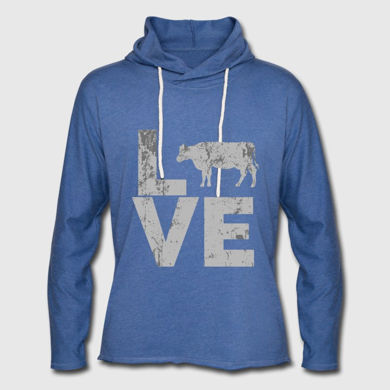 I Love Cows distressed - Unisex Lightweight Terry Hoodie