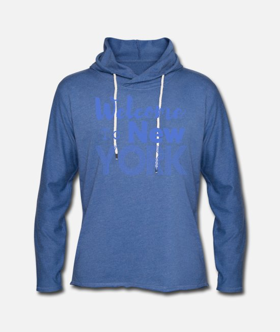 Hipster Hoodies & Sweatshirts - Welcome to New York Vintage - Unisex Lightweight Terry Hoodie heather Blue