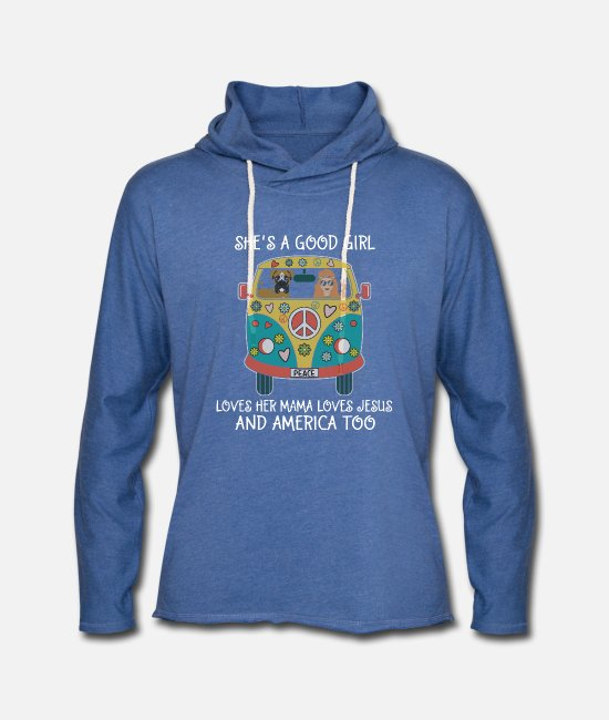 Mummy Hoodies & Sweatshirts - She's A Good Girl Loves Her Mama Loves Jesus Too - Unisex Lightweight Terry Hoodie heather Blue