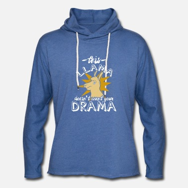 Laugh This Llama Doesn't like Drama - Unisex Lightweight Terry Hoodie