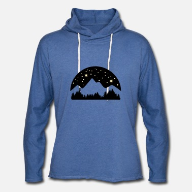 Beautiful Mountains, Forest and Starry Night Sky - Unisex Lightweight Terry Hoodie