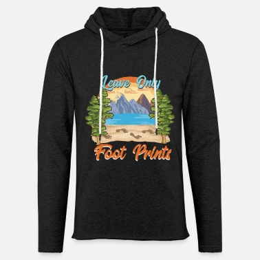 Foot Only Foot Prints / Wanderlust Camping Gift Idea - Unisex Lightweight Terry Hoodie