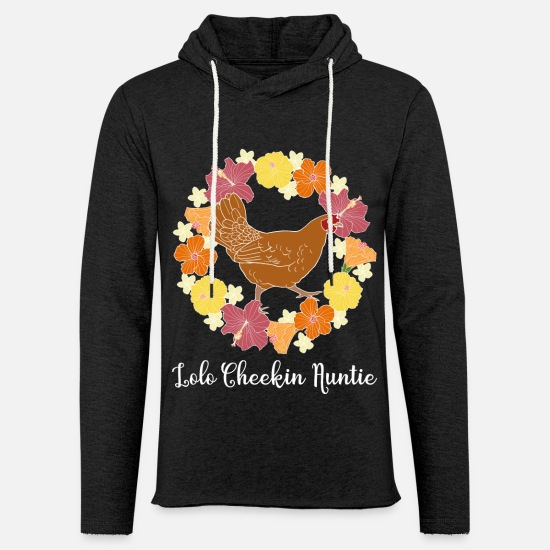 Chicken Hoodies & Sweatshirts - Hawaii Hibiscus Red Chicken Lolo Cheekin Auntie - Unisex Lightweight Terry Hoodie charcoal gray