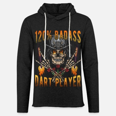 Darts Clothes 120% Badass Dart Player for Darts Players - Unisex Lightweight Terry Hoodie
