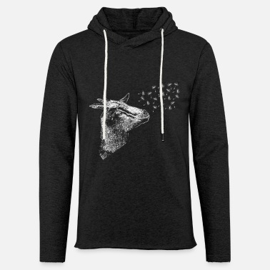 Goat With Flowers Dandelion goat flower farm zoo - Unisex Lightweight Terry Hoodie