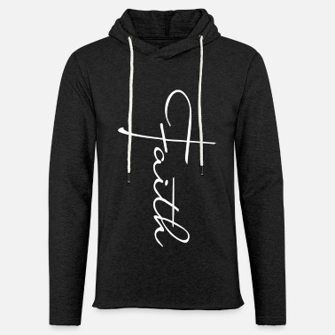 Lettering Vertical Faith Cross Christian - Unisex Lightweight Terry Hoodie