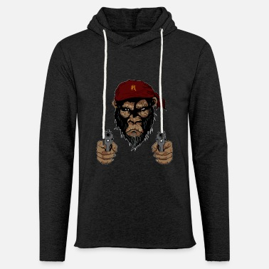 Junglecontest Jungle Animals - Gorilla with Guns - Unisex Lightweight Terry Hoodie