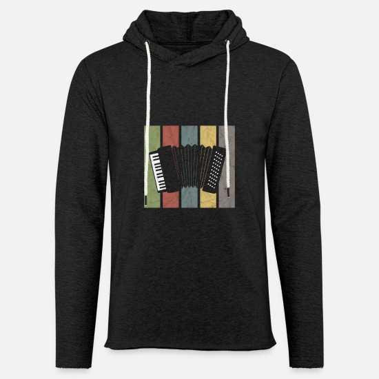 Accordion Hoodies & Sweatshirts - Harmonica Wind Instruments Air Accordion Retro - Unisex Lightweight Terry Hoodie charcoal gray