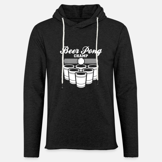 Beer Pong Hoodies & Sweatshirts - BEER PONG CHAMP - Unisex Lightweight Terry Hoodie charcoal gray