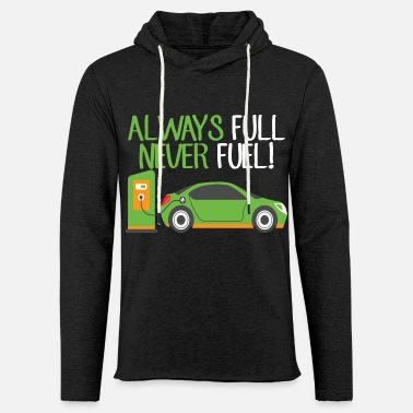 Vehicle Electric Vehicle EV Car Fuel Funny Gift - Unisex Lightweight Terry Hoodie
