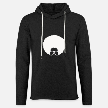 Afro with Glasses #4 (in white) - Unisex Lightweight Terry Hoodie