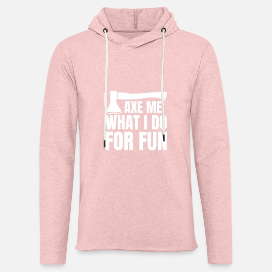 Gift Idea Hoodies & Sweatshirts - Axe throwing throwing Tomahawk double ax gift - Unisex Lightweight Terry Hoodie cream heather pink