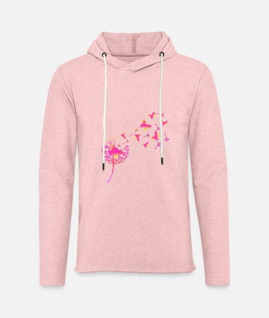 Family Hoodies & Sweatshirts - Butterfly and dandelion ID2 16-07 - Unisex Lightweight Terry Hoodie cream heather pink
