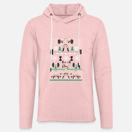 Christmas Hoodies & Sweatshirts - Ugly Gym Sweater - Unisex Lightweight Terry Hoodie cream heather pink