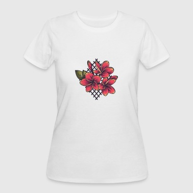Embroidery Plumeria Flower Embroidery - Women's 50/50 T-Shirt