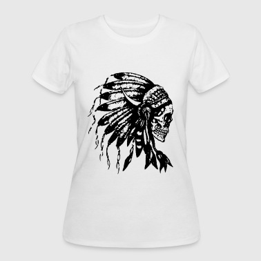 Headdress Skull Native American Feathers Indian Tr - Women's 50/50 T-Shirt