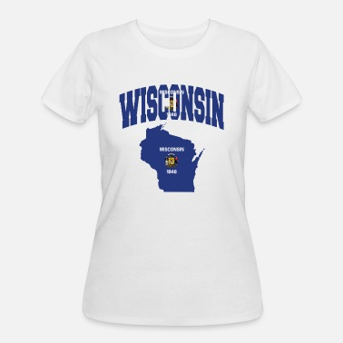 State Of Wisconsin Wisconsin Flag Map - Women's 50/50 T-Shirt