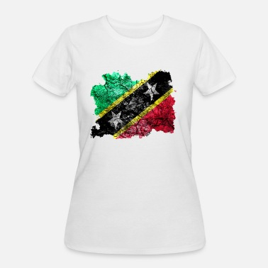 Saint Kitts And Nevis Saint Kitts and Nevis Vintage Flag - Women's 50/50 T-Shirt