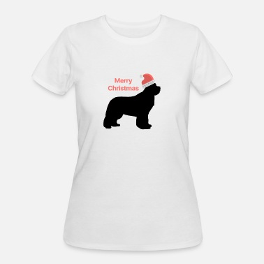 Christmas Design Newfie with Santa Hat - Women's 50/50 T-Shirt