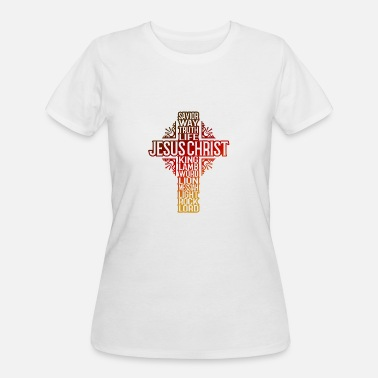 Lamb JESUS CROSS - NAMES AND TITLES -GRADIENT - Women's 50/50 T-Shirt