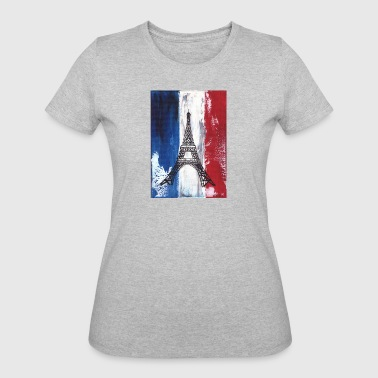 Grunge Paris flag and Eiffel tower - Women's 50/50 T-Shirt