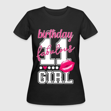 11 Year Old 11th birthday girl pink kiss college Style number - Women's 50/50 T-Shirt