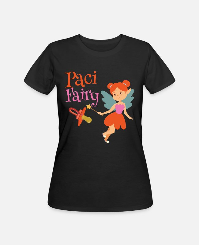 Fairy Tale Figure T-Shirts - Paci Fairy: Cute Pacifier Fairy Shirt for Girls - Women's 50/50 T-Shirt black