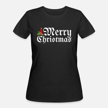 Christmas Holly Leaves Merry Christmas with candle gift t-shirt - Women's 50/50 T-Shirt