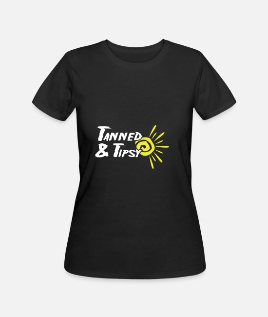 Tanning T-Shirts - Tanned and tipsy Beach And Party Goer Gift - Women's 50/50 T-Shirt black