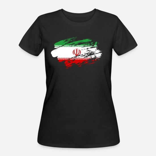 Paint Brush T-Shirts - Iran Flag Tee Shirt - Women's 50/50 T-Shirt black