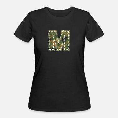 Initial M letter sewn camouflage patch military - Women's 50/50 T-Shirt