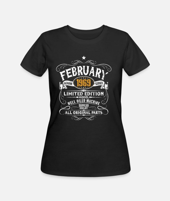 Funny 50th Birthday T-Shirts - February 1969 50th Birthday Vintage Funny Gift - Women's 50/50 T-Shirt black