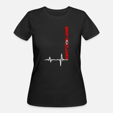 Lugano Heartbeat Switzerland font gift - Women's 50/50 T-Shirt