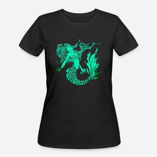 Vintage Car T-Shirts - Mermaid Fantasy Ocean Vintage - Women's 50/50 T-Shirt black