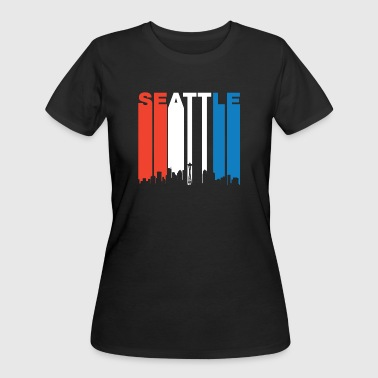 Red White And Blue Seattle Washington Skyline - Women's 50/50 T-Shirt